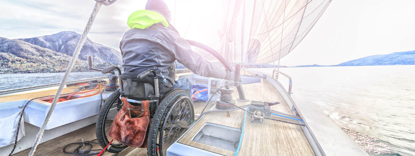 Wheelchair user on a boat